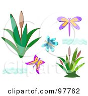 Royalty Free RF Clip Art Illustration Of A Digital Collage Of Butterfly Dragonfly Water And Aquatic Plant Elements by bpearth