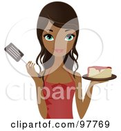 Royalty Free RF Clipart Illustration Of A Pretty African American Chef Woman Holding Pancakes And A Spatula by Melisende Vector