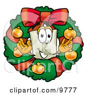 Light Switch Mascot Cartoon Character In The Center Of A Christmas Wreath