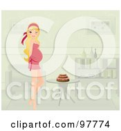 Blond Pregnant Woman Standing By A Cake On A Table