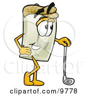 Light Switch Mascot Cartoon Character Leaning On A Golf Club While Golfing