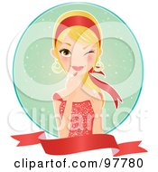 Beautiful Blond Woman In A Red Dress Applying Lipstick Over A Circle And Blank Banner