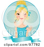 Royalty Free RF Clip Art Illustration Of A Beautiful Blond Woman In A Blue Dress Applying Blush Over A Circle And Blank Banner by Melisende Vector