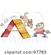 Royalty Free RF Clipart Illustration Of A Toon Guy Training His Dog On An Agility Course