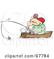 Royalty Free RF Clipart Illustration Of A Toon Guy Fishing In A Boat