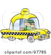 Royalty Free RF Clip Art Illustration Of A Toon Guy Taxi Driver