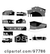 Digital Collage Of Black Silhouetted Structures And Motorhomes