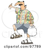Royalty Free RF Clipart Illustration Of A Caucasian Man In A Patterned Shirt Carrying A Bbq Propane Tank
