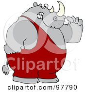Royalty Free RF Clipart Illustration Of A Strong Rhino Flexing His Muscles by Dennis Cox