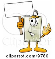 Light Switch Mascot Cartoon Character Holding A Blank Sign