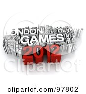 Royalty Free RF Clipart Illustration Of A 3d London Games 2012 Word Collage by MacX