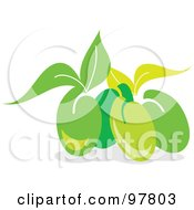 Royalty Free RF Clipart Illustration Of A Group Of Fresh Green Olives And Leaves