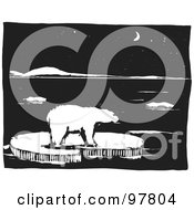 Royalty Free RF Clipart Illustration Of A Wood Engraved Styled Scene Of A Polar Bear On Ice