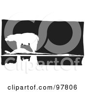 Royalty Free RF Clipart Illustration Of A Wood Engraved Styled Scene Of A Polar Bear Near Water