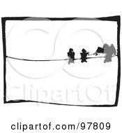 Royalty Free RF Clipart Illustration Of A Wood Engraved Styled Scene Of Three Birds On A Wire by xunantunich