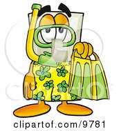 Clipart Picture Of A Light Switch Mascot Cartoon Character In Green And Yellow Snorkel Gear