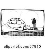 Royalty Free RF Clipart Illustration Of A Wood Engraved Styled Scene Of A Man Standing By An Igloo by xunantunich