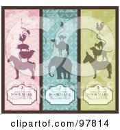 Royalty-Free (RF) Clipart Illustration of a Digital Collage Of Vintage Animal Pyramid Bookmarks With Sample Text by Anja Kaiser