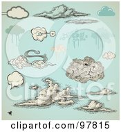 Royalty Free RF Clipart Illustration Of A Digital Collage Of Vintage And Grungy Styled Clouds Over Antique Blue by Anja Kaiser