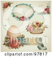 Digital Collage Of Victorian Easter Design Elements With Roses Eggs And Baskets