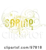 Swirly Green Spring Word With Vines Over Off White