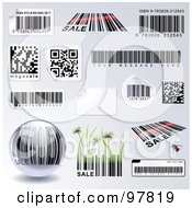 Royalty Free RF Clipart Illustration Of A Digital Collage Of Different Bar Codes And Stickers Over Gray Some With Sample Text by Anja Kaiser