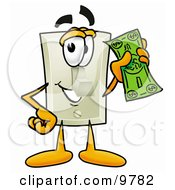 Light Switch Mascot Cartoon Character Holding A Dollar Bill