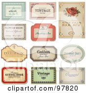 Digital Collage Of 11 Vintage Label Designs In Different Shapes With Sample Text