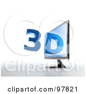 Royalty Free RF Clipart Illustration Of A 3d Television Monitor With Blue Text Popping Out Of The Screen by Mopic