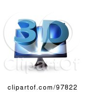 Royalty Free RF Clipart Illustration Of A 3d Television Screen With Blue Text Popping Out Of The Screen