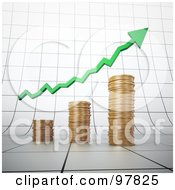 Royalty Free RF Clipart Illustration Of A 3d Gold Coin Bar Graph With A Green Arrow On A Graph