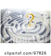 Poster, Art Print Of 3d Yellow Question Mark In A Round Maze
