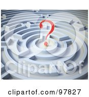 Royalty Free RF Clipart Illustration Of A 3d Red Question Mark In A Round Maze by Mopic
