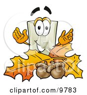 Light Switch Mascot Cartoon Character With Autumn Leaves And Acorns In The Fall