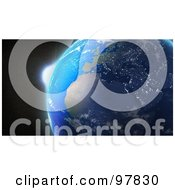 Royalty Free RF Clipart Illustration Of A 3d View Of The Sunrise Behind Earth by Mopic