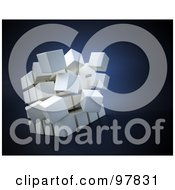 Royalty Free RF Clipart Illustration Of A White 3d Cube Separating Over Blue