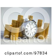 Royalty Free RF Clipart Illustration Of A 3d Alarm Clock By Piles Of Coins by Mopic