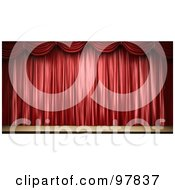 3d Stage With Elegant Red Drapes