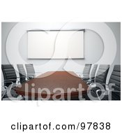 Royalty Free RF Clipart Illustration Of A 3d Wooden Meeting Room Table With Chairs And A White Board by Mopic