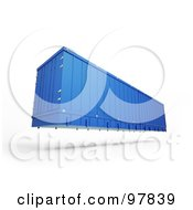 Royalty Free RF Clipart Illustration Of A 3d Blue Cargo Container Floating