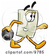 Light Switch Mascot Cartoon Character Holding A Bowling Ball