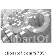 Royalty Free RF Clipart Illustration Of 3d Abstract Background Of White Columns Resembling Skyscrapers by Mopic