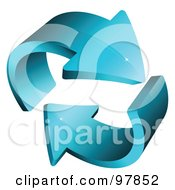 Royalty Free RF Clipart Illustration Of A 3d Blue Circling Arrows Logo Design