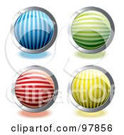 Royalty Free RF Clipart Illustration Of A Digital Collage Of Colorful Round And Shiny Lined App Icons by michaeltravers