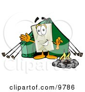 Light Switch Mascot Cartoon Character Camping With A Tent And Fire