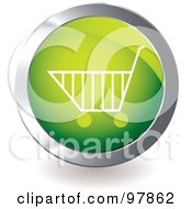 Royalty Free RF Clipart Illustration Of A Green Shopping Cart App Icon