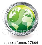 Royalty Free RF Clipart Illustration Of A Green Eco Globe App Icon by michaeltravers
