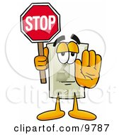 Light Switch Mascot Cartoon Character Holding A Stop Sign