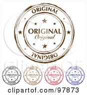 Royalty Free RF Clipart Illustration Of A Digital Collage Of Round Distressed Original Ink Stamps by michaeltravers