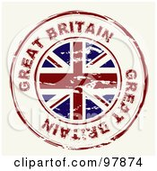 Royalty Free RF Clipart Illustration Of A Round Distressed Great Britain Ink Stamp